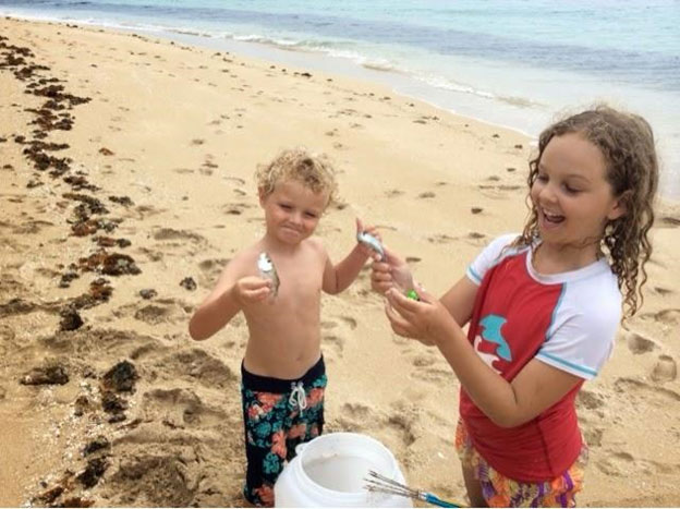 kids fishing beach