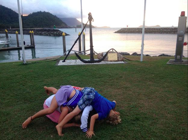 kids playing at marina