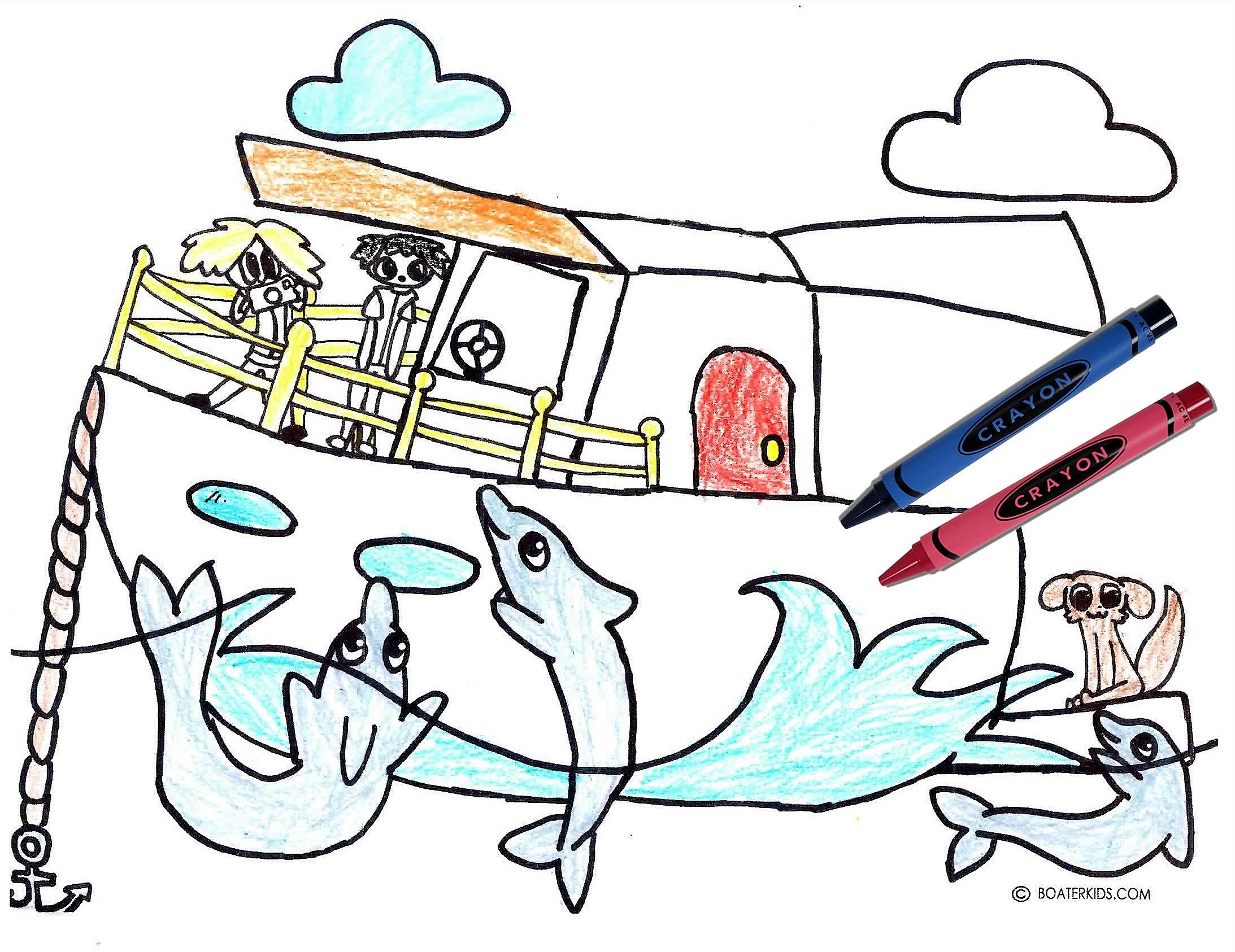 dolphin swim drawing crayons